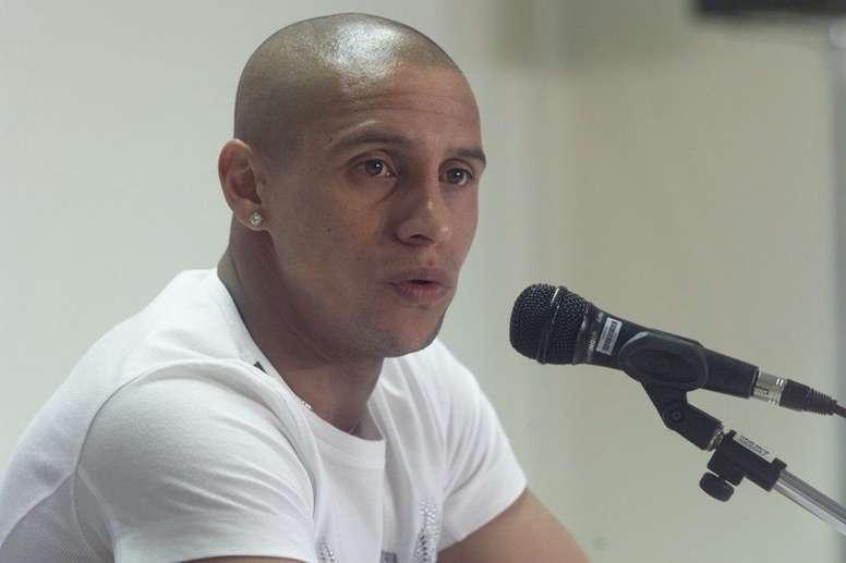 Roberto Carlos, durante una rueda de prensa en su etapa en Brasil.