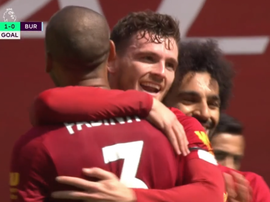 Robertson gave Liverpool the lead versus Burnley. Captura/DAZN