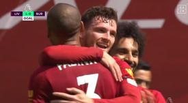 La belle tête de Robertson pour ouvrir le score contre Burnley. Capture/DAZN