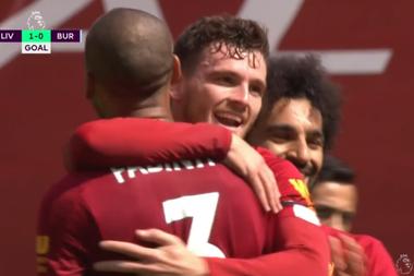 Robertson gave Liverpool the lead versus Burnley. Captura/DAZN