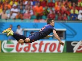 Van Persie's header was shortlisted for the FIFA Puskas Award. AFP