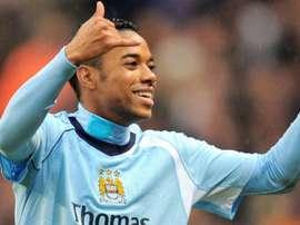 Robinho tem passagem apagada como jogador do Manchester City em 2008. AFP