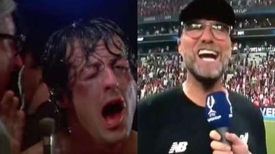 Genio Klopp imitando a Rocky Balboa. Capturas/Rocky/btsportfootball