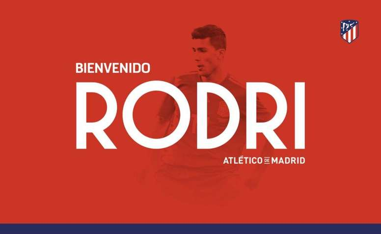 Atlético dá as boas vindas a Rodri. Atléticodemadrid