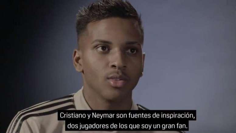 Rodrygo reveló que sus referentes actuales son Cristiano y Neymar. Captura/DAZN