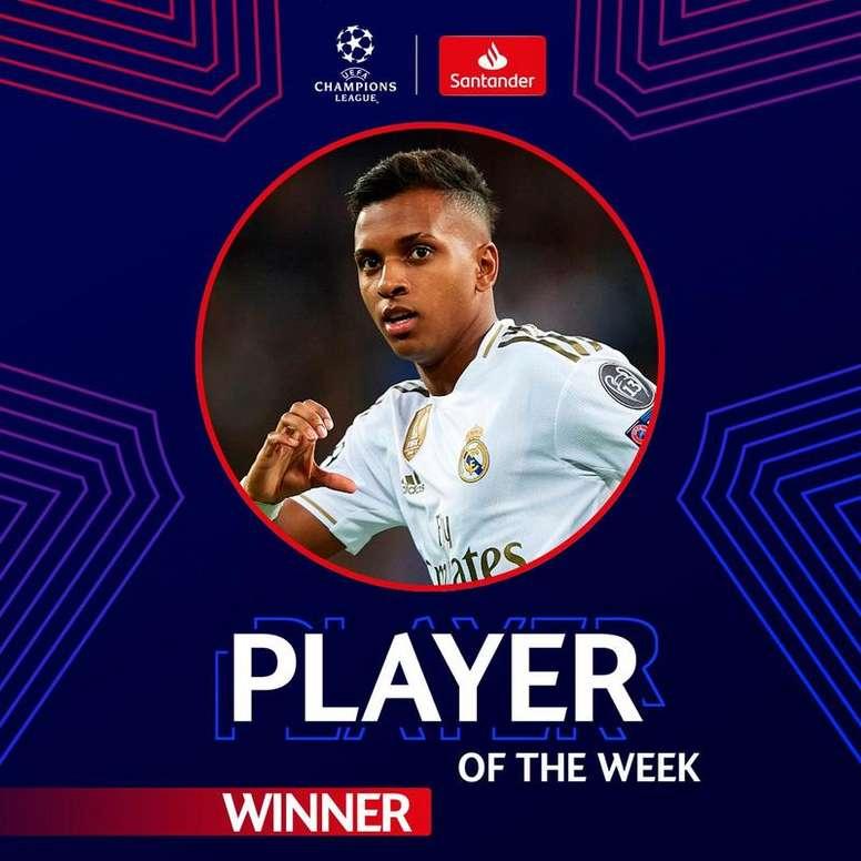 Rodrygo é eleito o jogador da semana na Champions. Twitter @ChampionsLeague