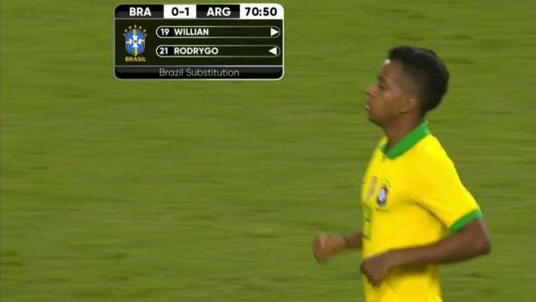 Rodrygo al fin debutó con Brasil. Captura/DAZN