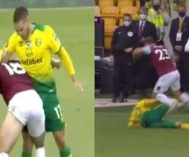 Emiliano Buendia and Josip Drmic were sent off for Norwich. Captura/DAZN