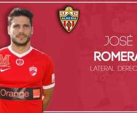 Romera, otro fichaje del Almería. Twitter/U_D_Almeria