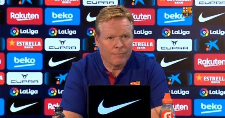 Koeman en conférence de presse. Captura/BarçaTV