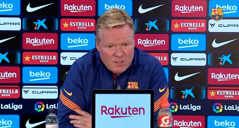 Koeman falou em coletiva de imprensa antes de Getafe x Barcelona. Captura/FCBarcelona