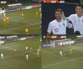 Hat trick? Cristiano scores 4 against Lithuania. Captura/SkySports