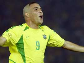 Ronaldo Nazario celebrates scoring for Brazil. EFE