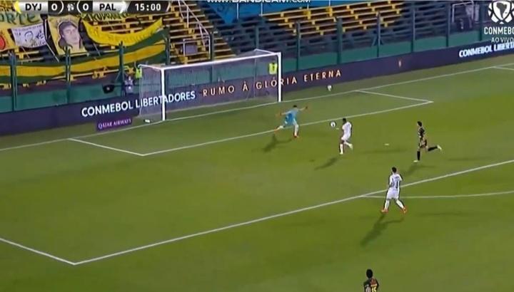 Rony abre o placar para o Palmeiras contra o Defensa y Justicia pela partida de ida da Recopa. Captu