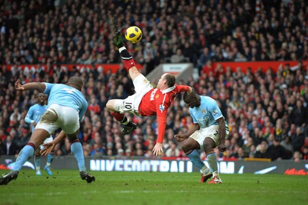 Rooney scored a brilliant overhead kick at Old Trafford. Twitter