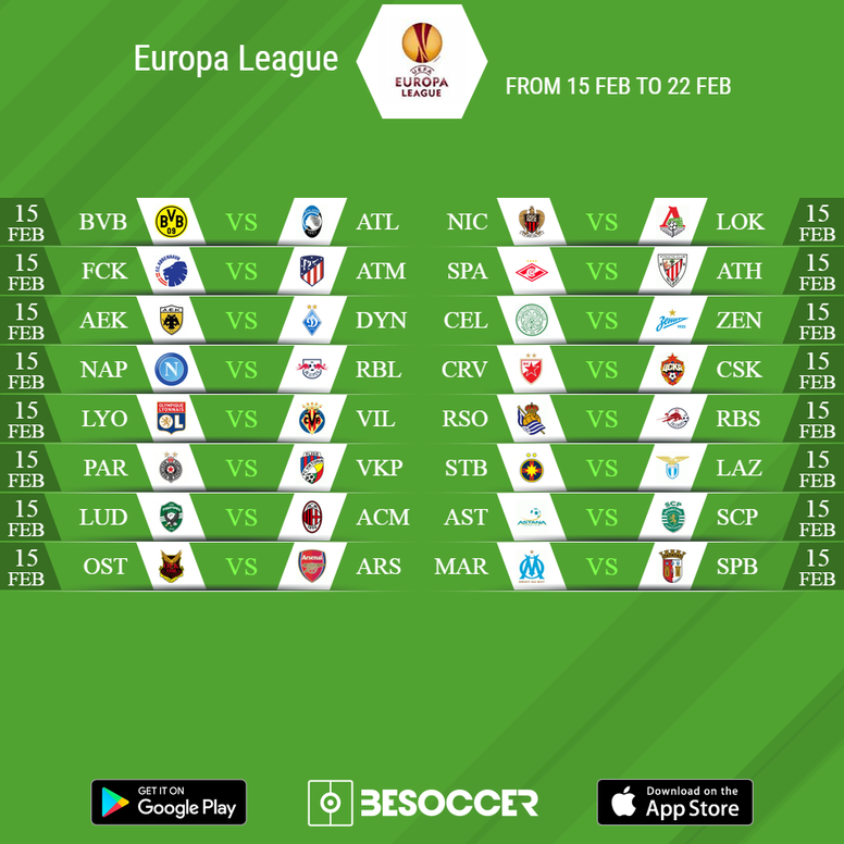 Round of 32 ties in the 2017/18 Europa League. BeSoccer