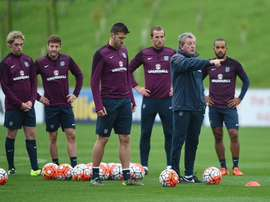 Roy Hodgson gives instructions in training this morning. Twitter