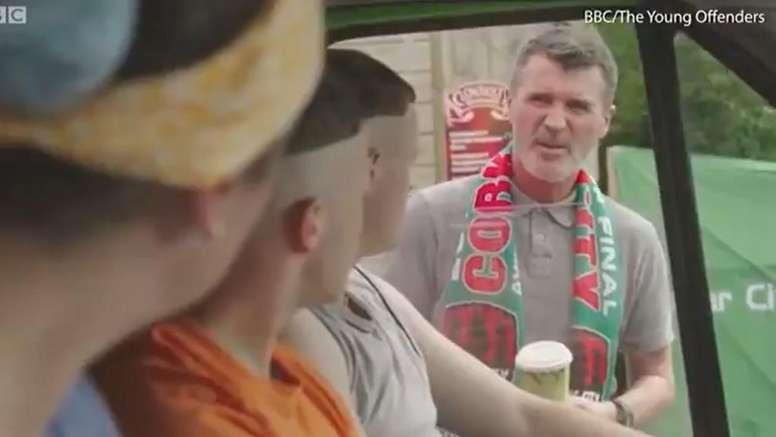 Roy Keane debutó como actor y solo recibió insultos. Captura/BBC