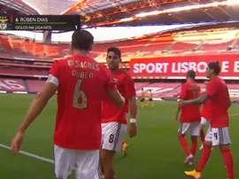 Rúben Dias fez um dos gols do Benfica contra o Moreirense. Captura/LP