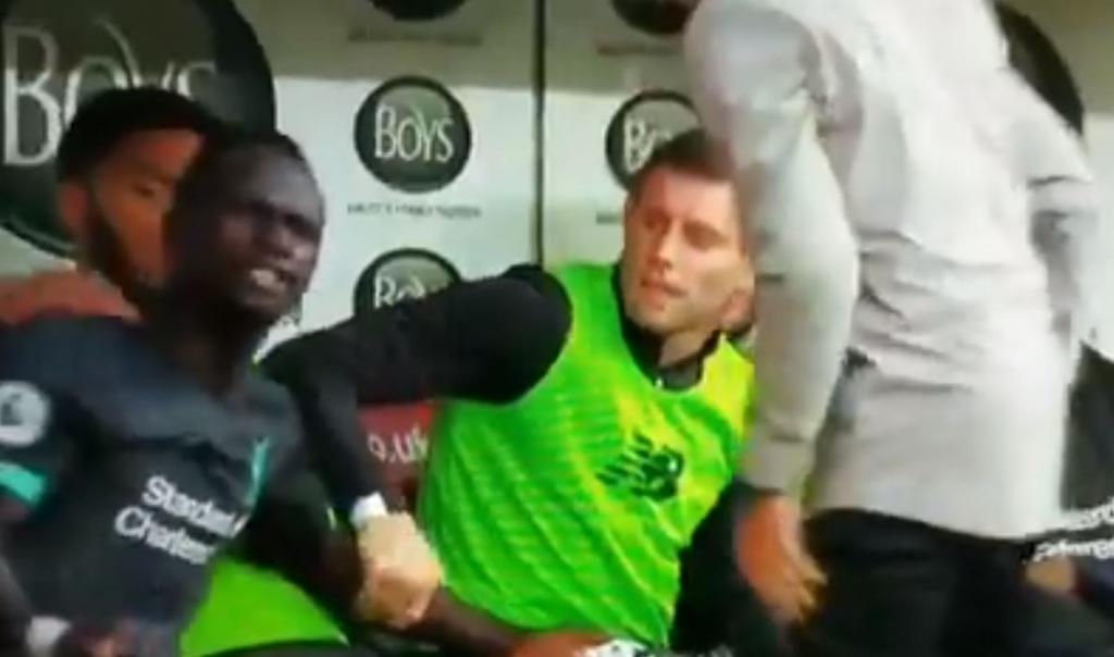 Mane's bench row was caused by Salah decision. Screenshot  DAZN