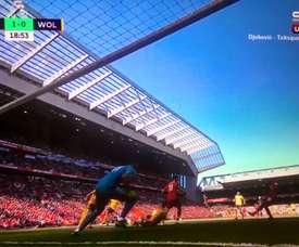 Sadio Mané abriu o marcador para o Liverpool. Captura/SK1