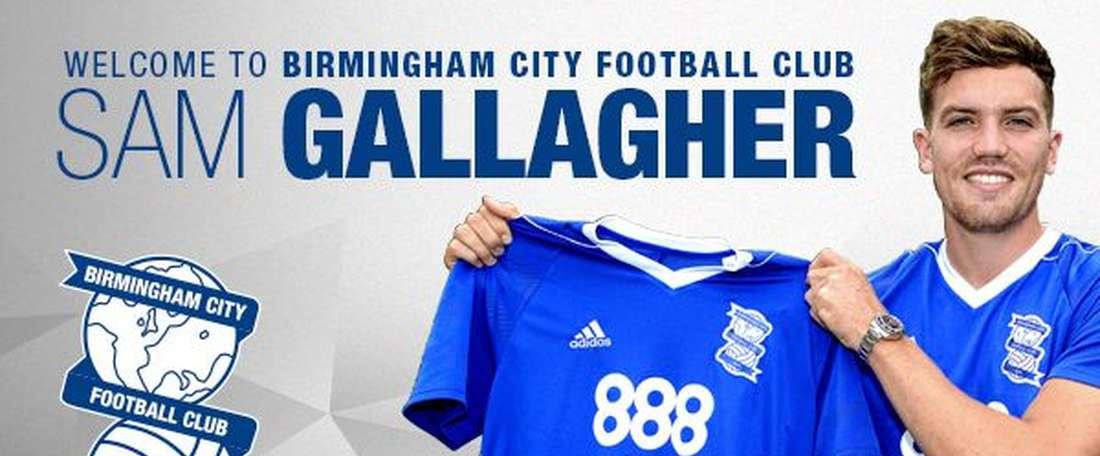 Birmingham City a signé l'attaquant de 21 ans Sam Gallagher. BCFC