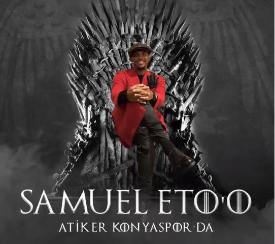 Eto'o, presentado como nuevo jugador del Konyaspor. Twitter/Konyaspor