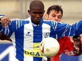 Samuel Eto'o controla un balón en su etapa en el Leganés. DeportivoLeganes