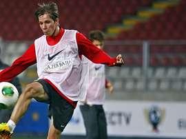 Samuel Villa, entrenando antes de un partido. ClubAtléticodeMadrid