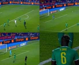O gol inusitado que pode valer o título africano. Capturas/Eurosport
