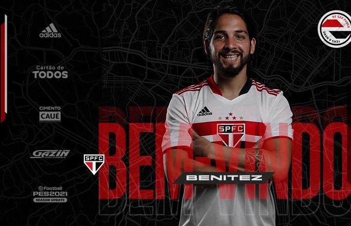 São Paulo anunciou o argentino Martín Benitez. Twitter/SaoPauloFC