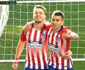 El Atlético se adelantó de penalti. Captura/ESPN