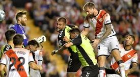 Saveljich marcó el gol de la victoria. Twitter/RayoVallecano