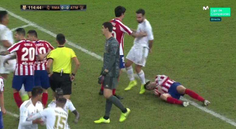 Carvajal pisó sin querer la cabeza de Morata