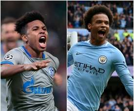 Leroy Sane will return to face his former club as City head to Schalke. MONTAGE/AFP