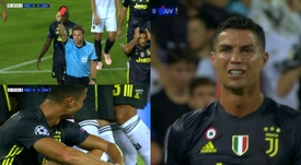 Ronaldo was sent for an early bath in the first half. Screenshot/ESPN