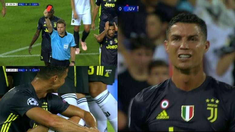 Cristiano a vu le rouge pour ses débuts avec la Juve en C1. Capture/ESPN