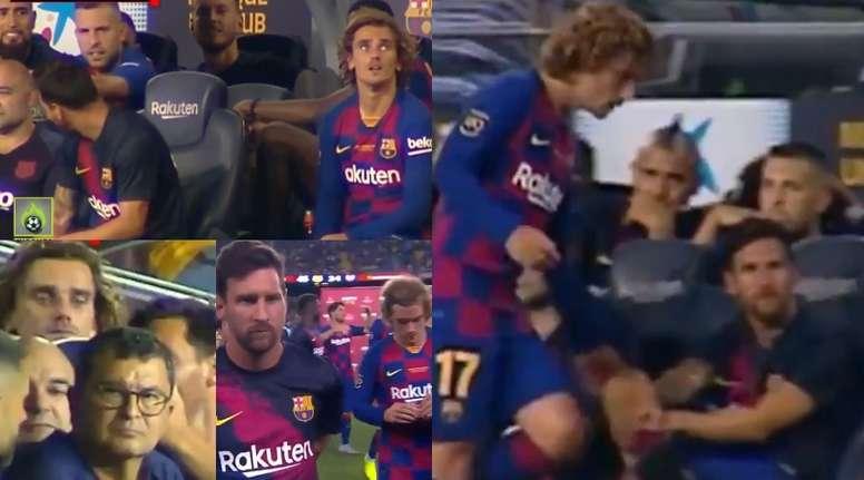 Griezmann et Messi ne se sont montrés aucun geste d'affection. Captures/Jugones