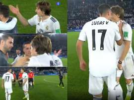 Lucas scherza con Modric. Capturas/TVE