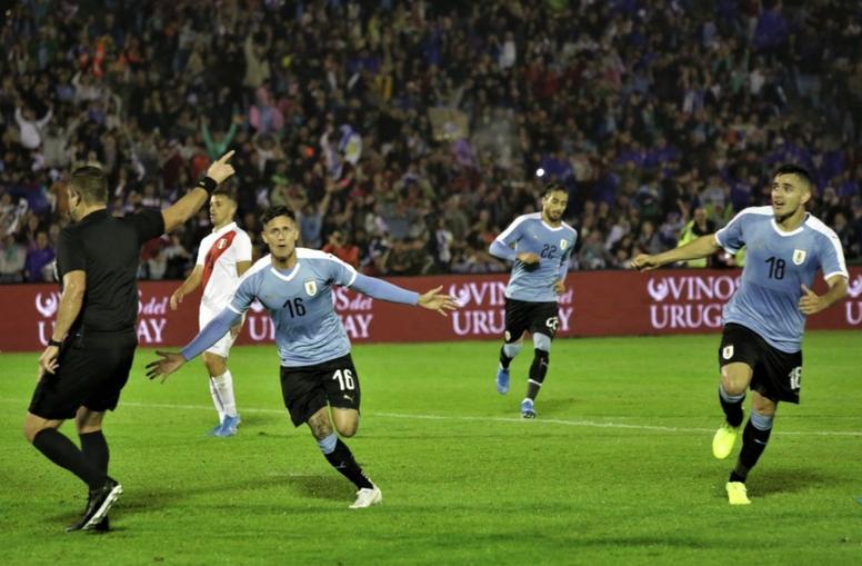 Segundo gol de Brian Rodríguez con la camiseta de Uruguay. Twitter/Uruguay