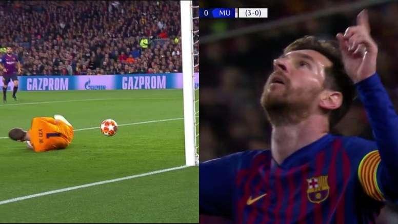 Com frango colossal de De Gea, Messi marca o segundo. Captura/Movistar+