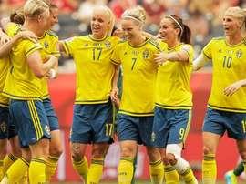 Selección Femenina de Suecia, durante un partido. FIFA