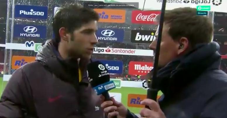 Sergi Roberto destaca a Messi, Suárez y al equipo. Captura/Movistar