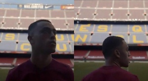 Dest's first time at Cam Nou as a Barca player. Screenshot/FCBarcelona