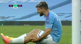 Agüero went off injured. Screenshot/DAZN