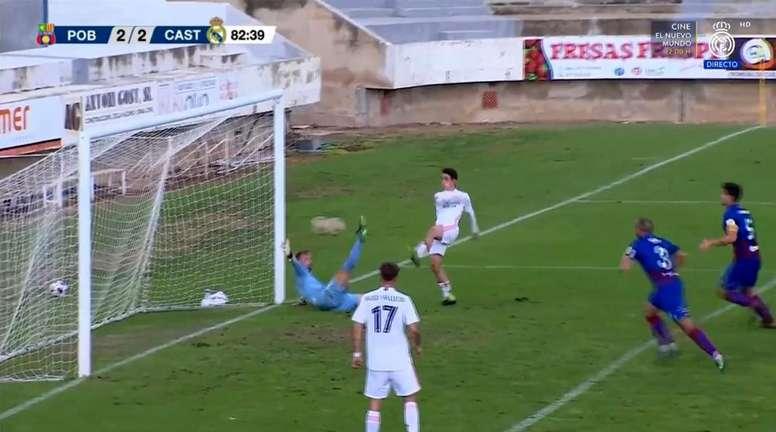 Arribas hizo el 2-2 tras un intercambio de goles. Captura/RealMadridTV