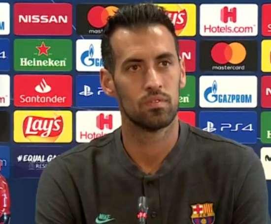Busquets en conférence de presse d'avant-match.Capture/Movistar