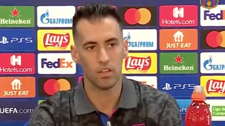 Busquets habló en rueda de prensa. Captura/FCBarcelona