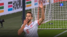 Canales scored for Spain. Screenshot/TVE