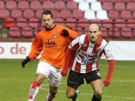Sergio Domínguez jugador del SD Logroñés, en un partido con el equipo riojano. JM